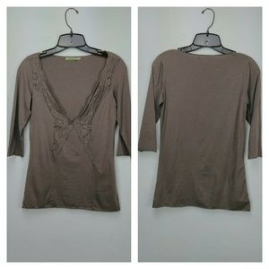 Taupe Velvet V-neck lace accent tee